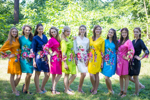 Mismatched One Long Flower Robes in bright tones