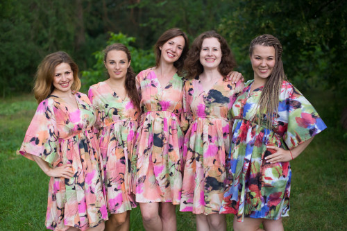 Flamingo Watercolor Button-Front Kaftan Dress for bridesmaids to get ready in
