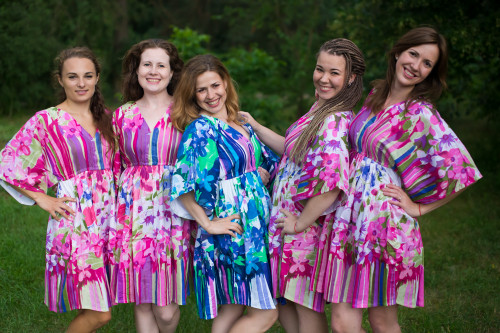 Floral Watercolor Painting Button-Front Kaftan Dress for bridesmaids to get ready in