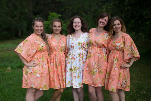 Flower Rain Button-Front Kaftan Dress for bridesmaids to get ready in