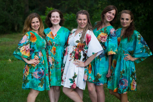 Large Floral Blossom Button-Front Kaftan Dress for bridesmaids to get ready in