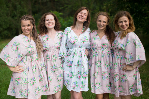 Pink Peonies Button-Front Kaftan Dress for bridesmaids to get ready in