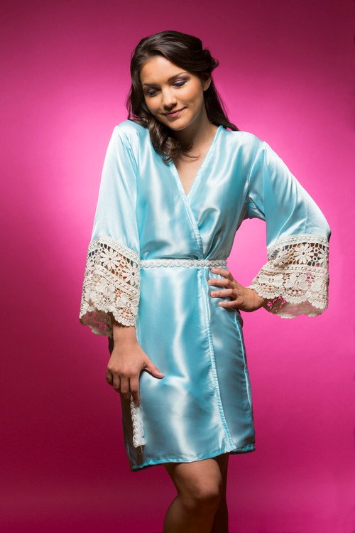 Light Blue Silk Lace Bridesmaids Robe