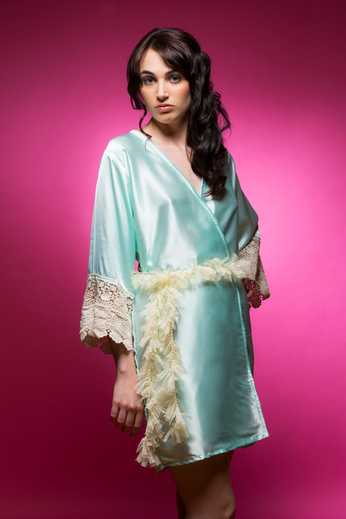 Mint Silk Lace Bridesmaids Robe