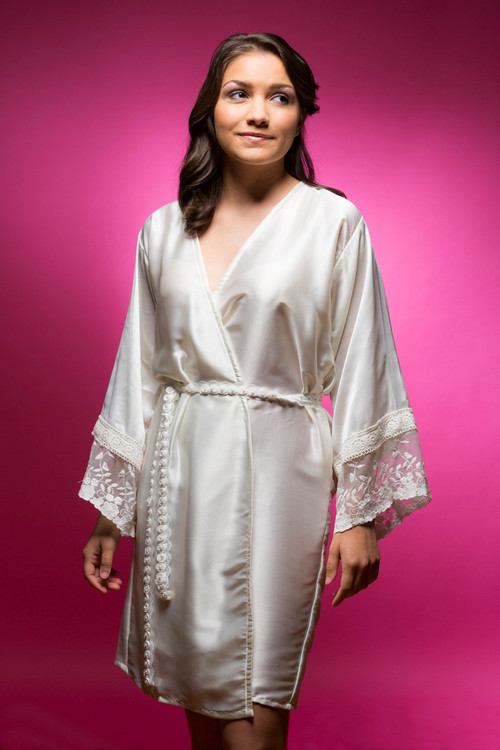 White Silk Lace Cuffs Bridesmaids Robe