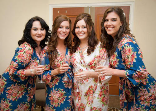 Dark Blue Floral Posy Wedding Robes for bridesmaids | Getting Ready Bridal Robes