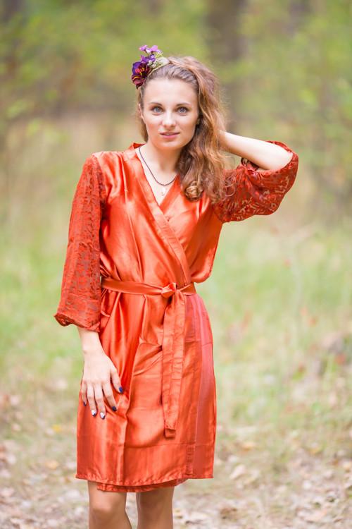 d1daa75288 Rust Luxurious Silk Robe with Silk Chiffon Devore Sleeves