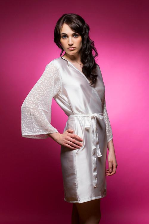 White Luxurious Silk Bridal Robe with Silk Chiffon Devore Sleeves