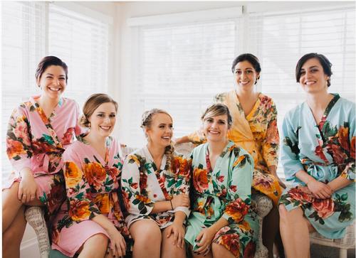 Mismatched Large Floral Blossom Robes in soft tones