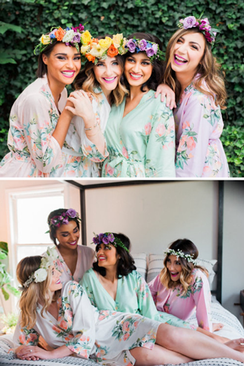 Dreamy Angel Song Pattern - Premium Bridesmaids Robes