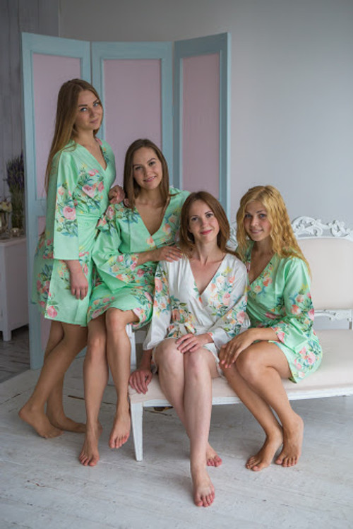 Dreamy Angel Song Pattern - Premium Mint Bridesmaids Robes