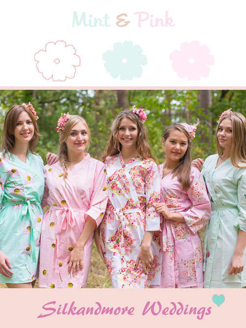 Mint and Pink Wedding Color Robes