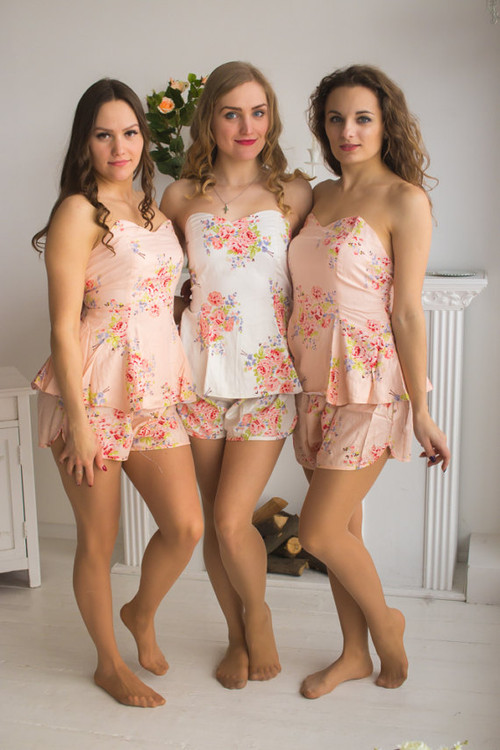 Blush Strapless Style PJs in Faded Flowers Pattern