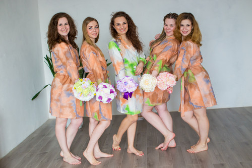 Peach Batik Watercolor Robes for bridesmaids | Getting Ready Bridal Robes
