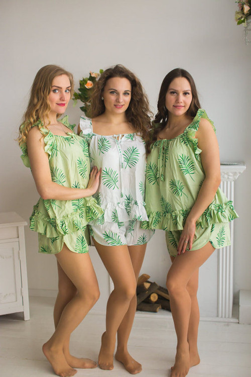 Ruffled Style PJs in Tropical Delight Palm Leaves Pattern