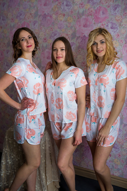 U-shaped neckline Style PJ in Blushing Flowers Pattern