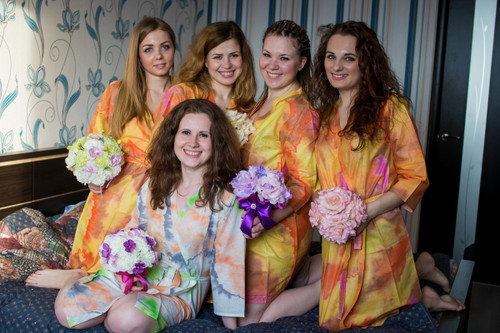 Yellow Batik Watercolor Robes for bridesmaids | Getting Ready Bridal Robes
