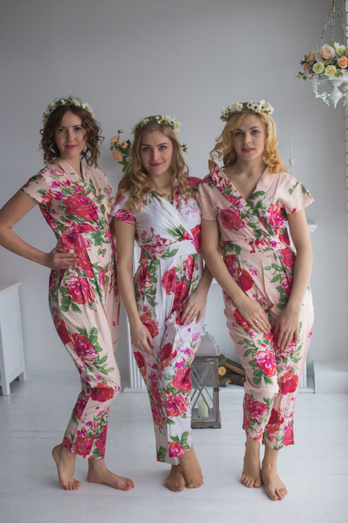 Blush Collared Style Bridesmaids Jumpsuits in Fuchsia Large Floral Blossom Pattern