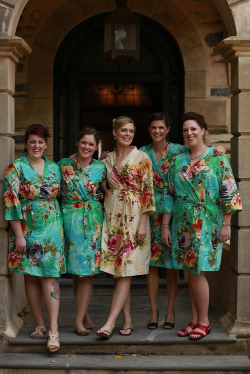 Aqua Large Floral Blossom Robes for bridesmaids | Getting Ready Bridal Robes