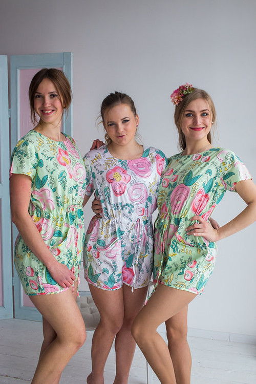 Drawstring Style Bridesmaids Rompers in Whimsical Giggle Pattern