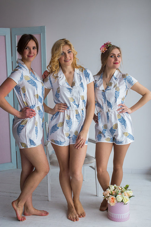 Notched Collar Style Bridesmaids Rompers in a feather rhyme Pattern