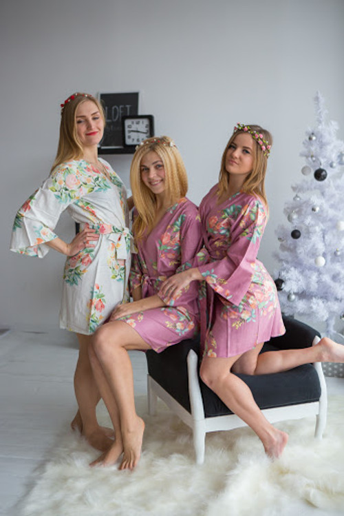 Dreamy Angel Song Pattern- Premium Mauve Bridesmaids Robes