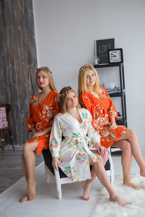 Dreamy Angel Song Pattern- Premium Burnt Orange Bridesmaids Robes