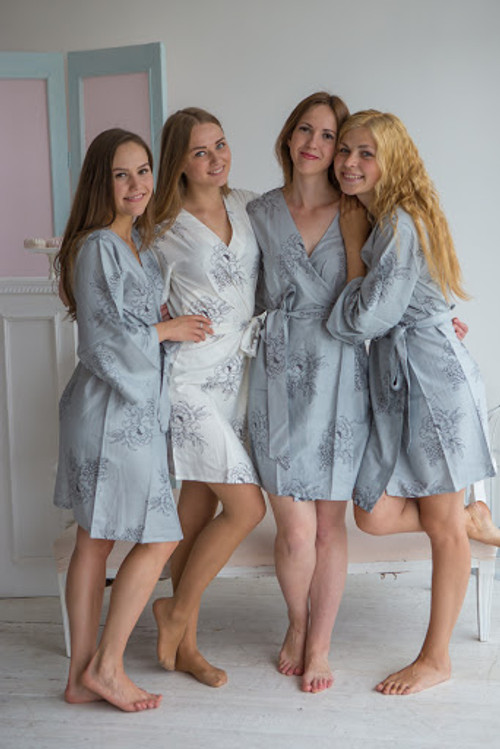 Gray bridesmaids wedding robes in floral sketch pattern
