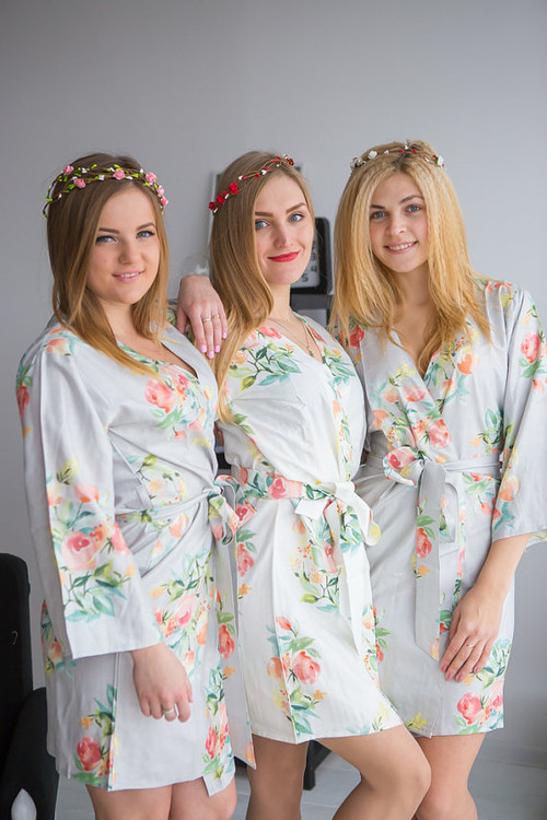 Dreamy Angel Song Pattern- Premium Silver Bridesmaids Robes