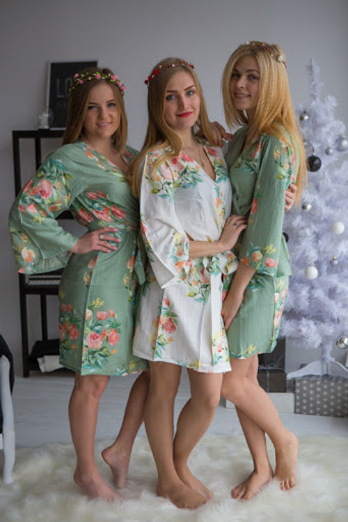 Premium grayed jade bridesmaids wedding robes