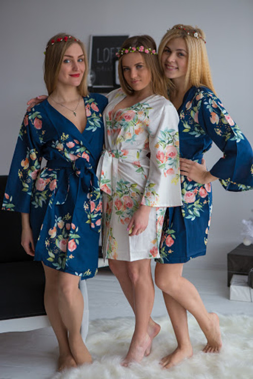 Dreamy angel premium navy blue bridesmaids robes