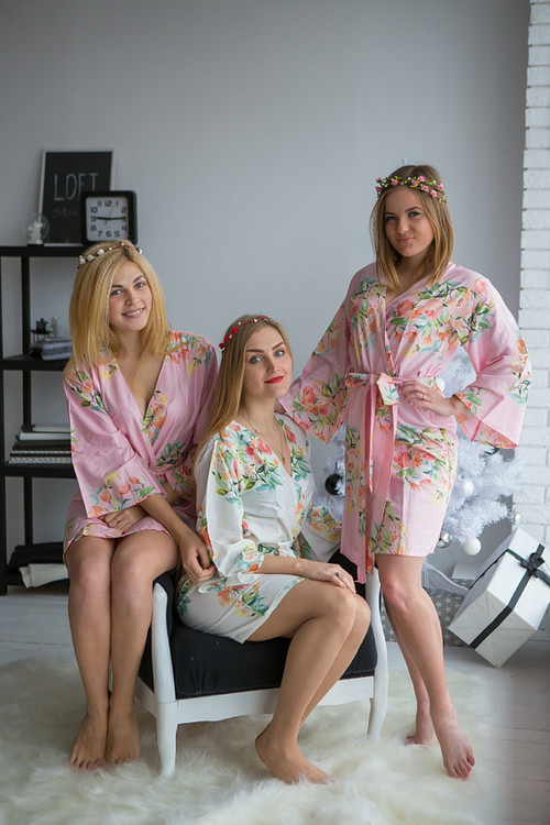 Dreamy Angel Song Pattern- Premium Light Pink Bridesmaids Robes
