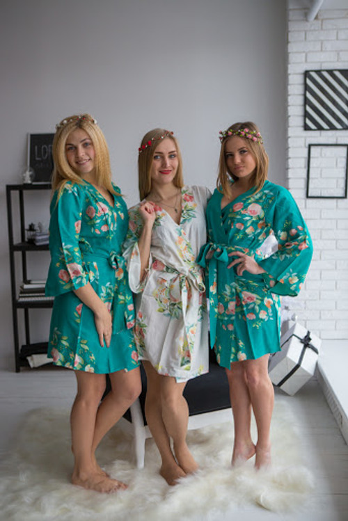 Dreamy angel premium teal green bridesmaids wedding robes