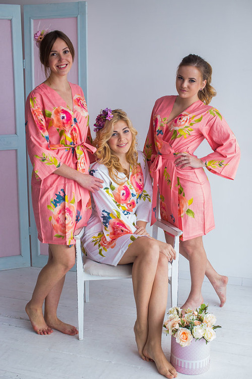 Smiling Blooms Pattern- Premium Peach Bridesmaids Robes