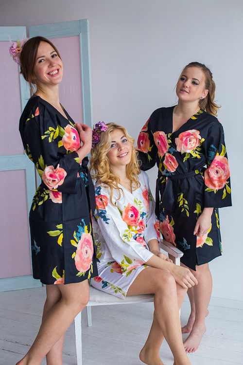 Smiling Blooms Pattern- Premium Black Bridesmaids Robes