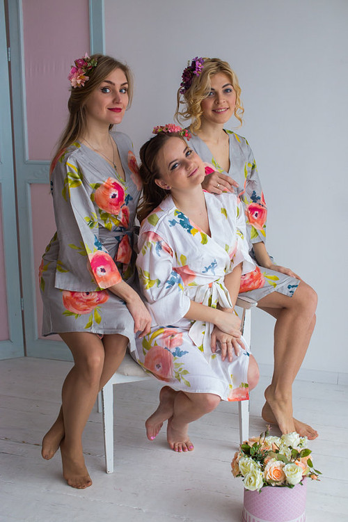 Smiling Blooms Pattern- Premium Silver Bridesmaids Robes