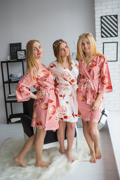 A rumor among Fairies Pattern- Premium Rose gold Bridesmaids Wedding Robes