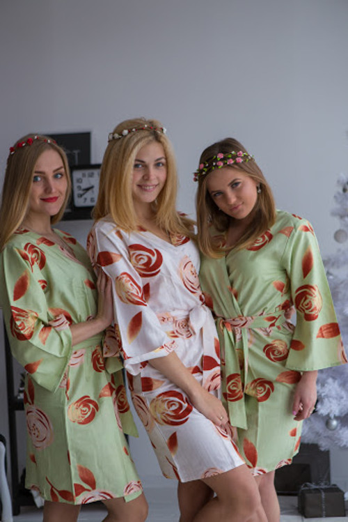 A rumor among Fairies Pattern- Premium Sage Bridesmaids Wedding Robes