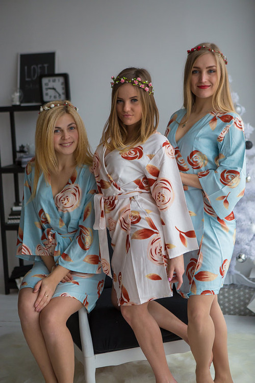 A rumor among Fairies Pattern- Premium Sky Blue Bridesmaids Robes