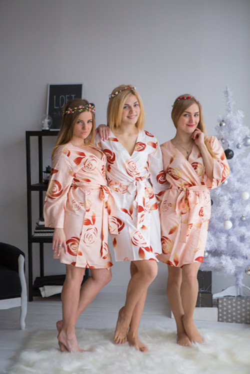 Blush bridesmaids wedding robes in rumor among fairies