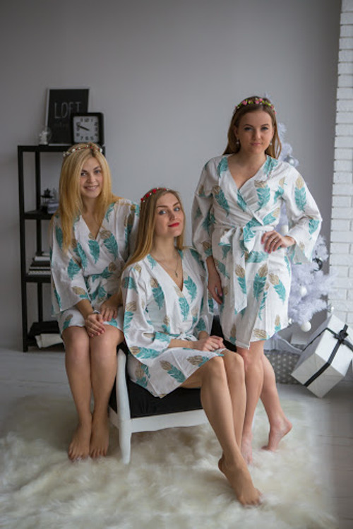 A feather rhyme Pattern- Premium Teal Gold Bridesmaids Robes