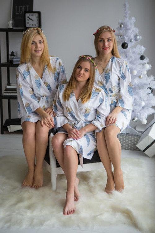 A feather rhyme Pattern- Premium Dusty Blue Gold Bridesmaids Robes