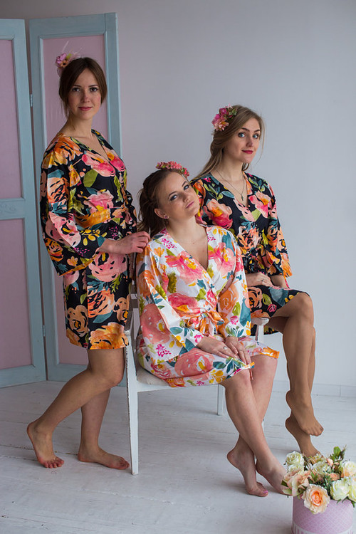 Her Petal Garden Pattern- Premium  Black Bridesmaids Robes