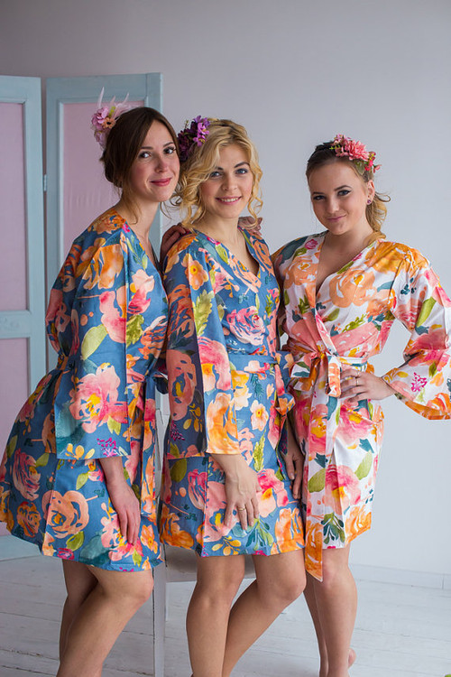 Her Petal Garden Pattern- Premium Dusty Blue Bridesmaids Robes