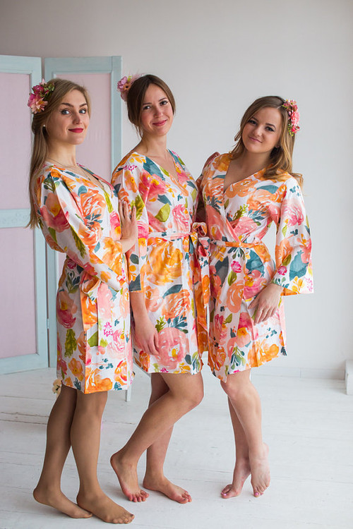 Her Petal Garden Pattern- Premium White Bridesmaids Robes