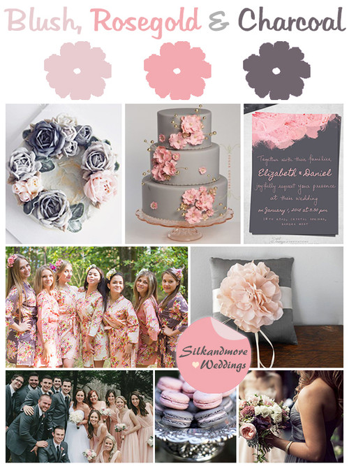 Blush, Rosegold and Charcoal Gray Wedding