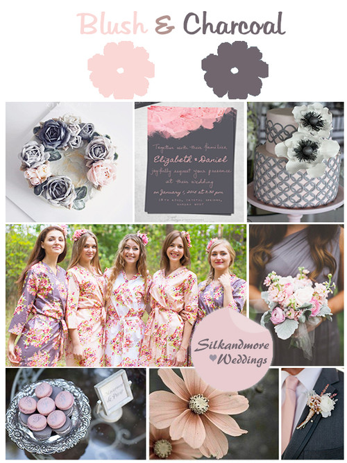 Charcoal Gray and Blush Wedding Colors Palette