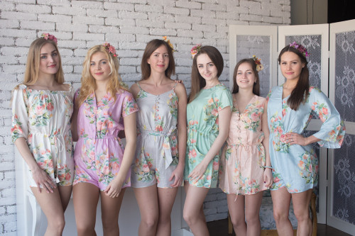 Pastel  Mismatched Bridesmaids Rompers in Dreamy Angel Song Pattern -