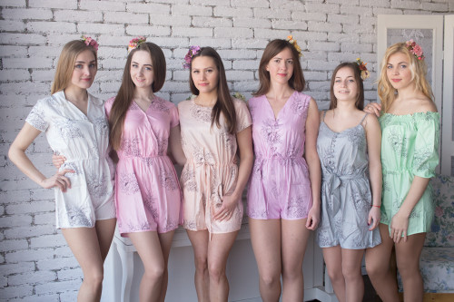 Mismatched Bridesmaids Rompers in Floral Sketch Pattern