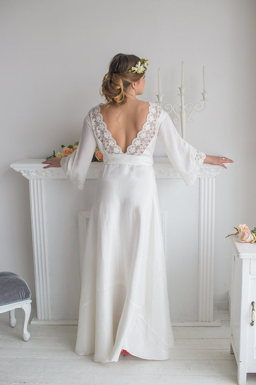 66d66f7d970 Lace Trimmed Bridal Robe from my Paris Inspirations Collection - V-Back in  White